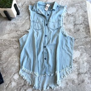 LF Rumor Boutique denim sleeveless button up top